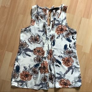 Sanctuary Cream Blouse with Flower Pattern